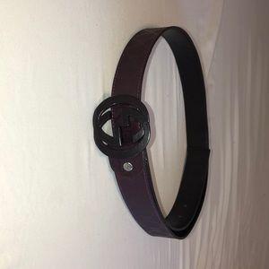 purple and black gucci belt